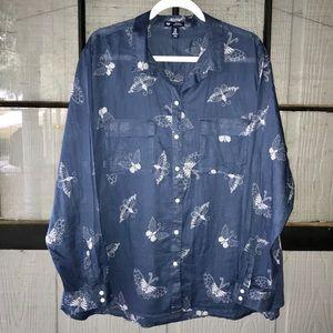 Gap button down shirt, denim blue w/ butterflies